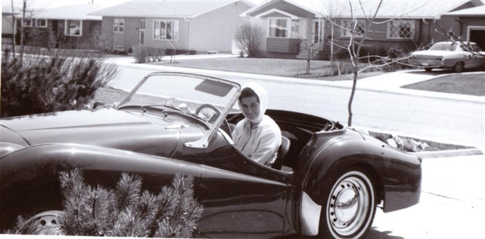 Paul's Mom in a Triumph TR3