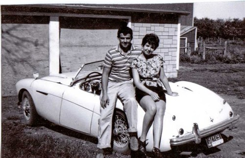 Nancy's Parents with their Austin Healey 100